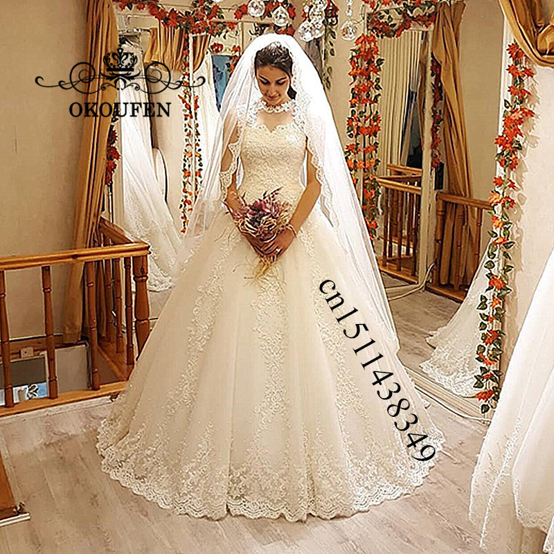 8fb1c8b5ca Vintage Lace Wedding Dress Vestido De Noiva For Women 2019 Sheer Neck White  Appliques Long Puffy A Line Bridal Dress Gown Product Details and  Specification ...