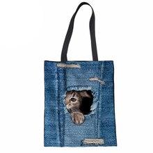 f67a044680 Femmes sac à provisions 3D chat impression Denim Jeans sac de plage étudiant  sac à main filles usage quotidien sac à main grande.