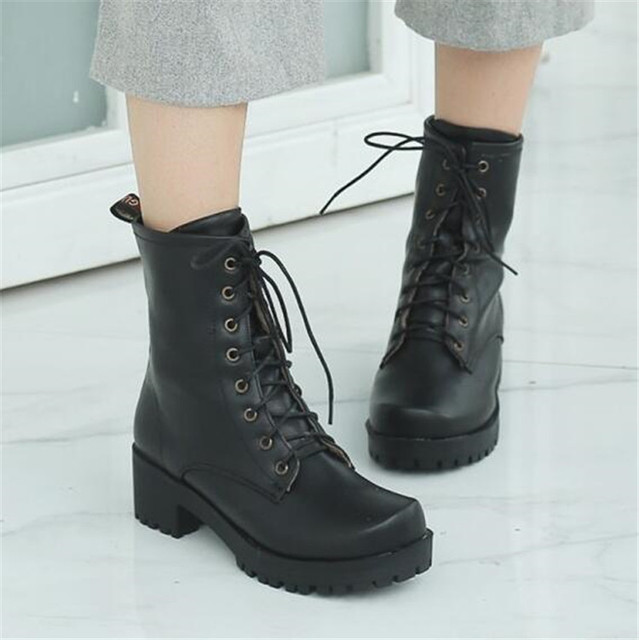 e70020f74f5 PXELENA Punk Chunky Block Med Heels Gothic Martin Boots Women Lace Up  Military Biker Combat Motorcycle Riding Boots Shoes 34-43