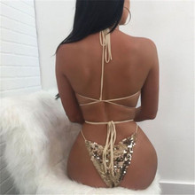 Women Bodysuit Halter Sequins Shiny Metalic