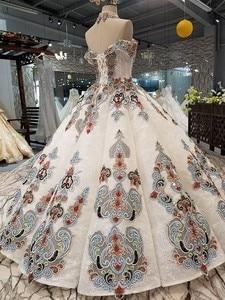Image 4 - 2018 새로운 패턴 신부 한 단어 어깨 한국어 자기 재배 얇은 간결한 긴 꼬리 색 웨딩 드레스 전체 드레스 2411