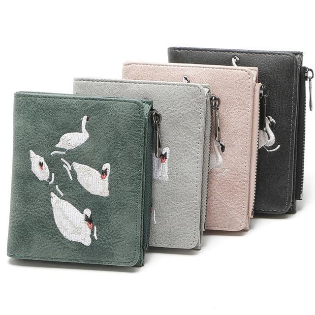 Для женщин кошелек Винтаж мода женский кошелек элегантный белый лебедь кошелек небольшой кожаный бумажник карточки с карманом для монет мешок денег Малый