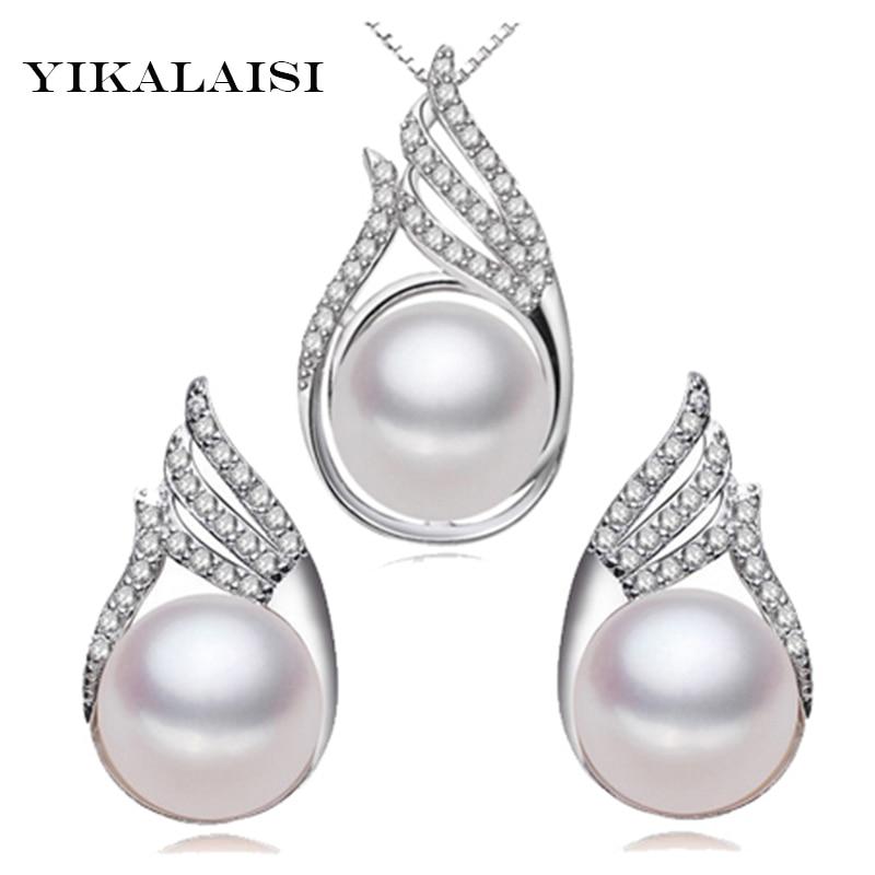 YIKALAISI 925 sterlingų sidabro natūralus gėlavandenių perlų princesės karoliai auskarai, mados komplektai, papuošalai moterims, 10–11 mm perlų
