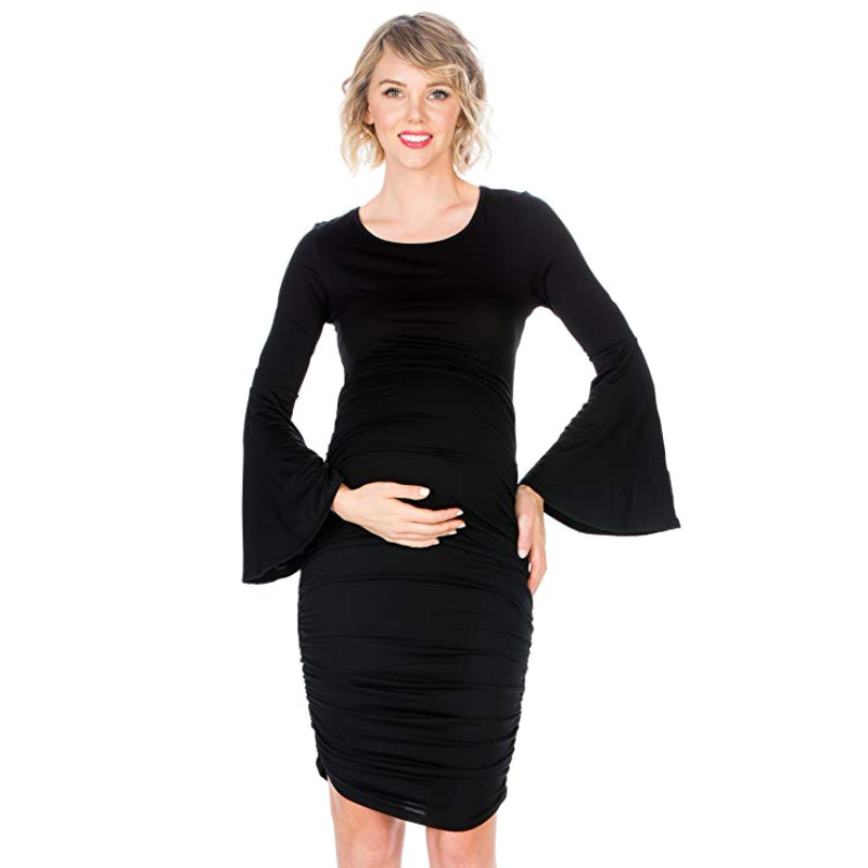 Maternity Clothes Elegnant Black Horn Cuff Side Wrinkle Dress Long Sleeved Pregnant Woman Dress Pleated Knee-length Dress