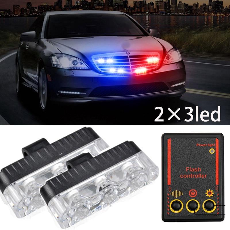 2x3 led car-styling Ambulance Police light Car Truck Emergency lamp Flashing Firemen Lights DC 12V Auto Strobe Warning Day light