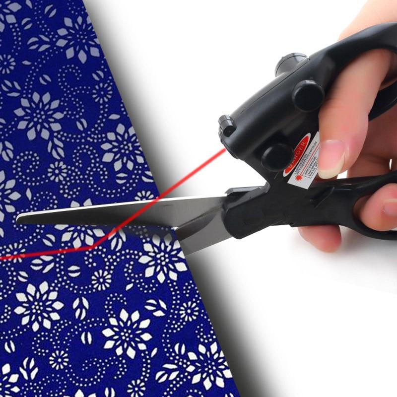 Professzionális lézeres vezetékes varrás olló DIY infravörös elhelyezés lézeres rozsdamentes acél olló a kézimunka varrás kellékekhez