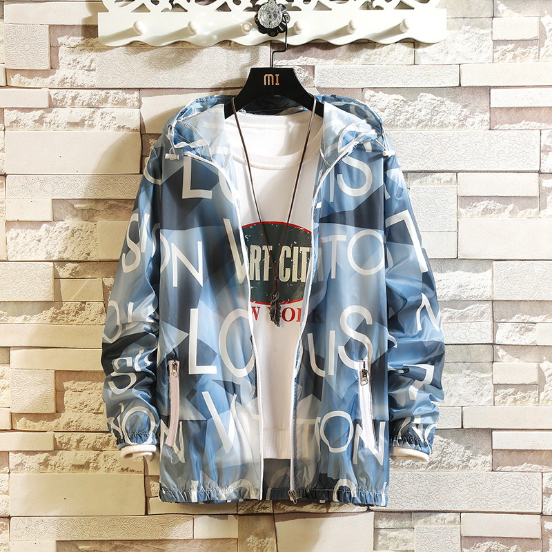 Jacket Men New Arrival Casual Printed Hooded Jackets Mens Fashion Zipper Outwear Slim Fit Summer Autumn Thin  Clothing High Qual
