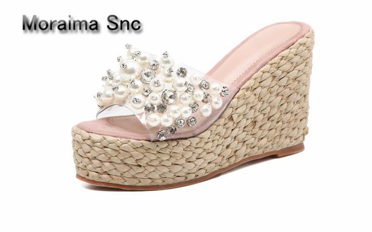 Apoepo brand Handmade Beach Sandals pearl pantuflas platform high heels slippers women crystal wedges sandals gilrs dress shoes