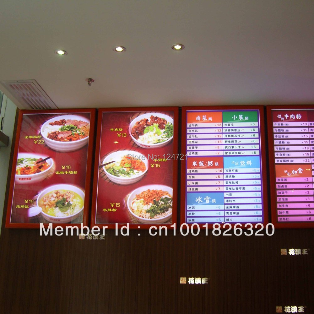 LED high brightness slim advertising a2 light box for restaurant, fast food restaurant menu board