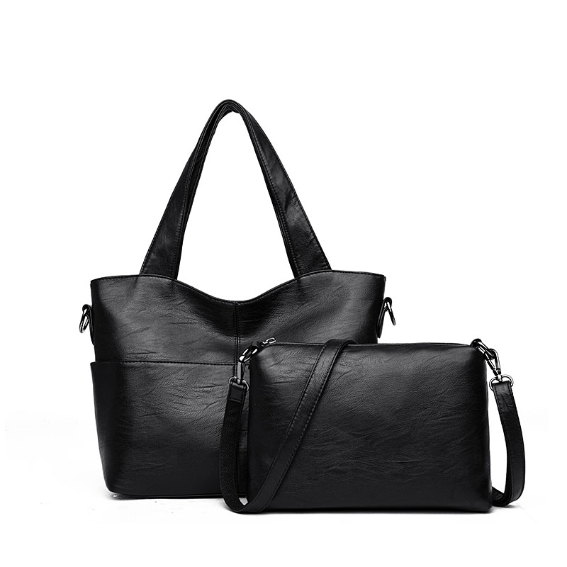 Image 2 - Women Handbag Leather Women Shoulder Bags 2 sets Famous Brand Designer Women Messenger Bags Ladies Casual Tote Bags sac a main-in Top-Handle Bags from Luggage & Bags