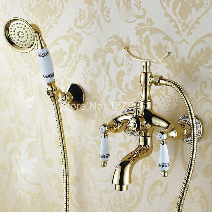 Luxury Gold Color Brass Bathroom Wall Mounted Handheld Shower Bath Tub Faucet Mixer Tap With Shower Head Bracket Holder atf407 micoe brass thermostatic water rainfall shower set faucet tub mixer tap handheld shower wall mounted bathroom m a1014 1d