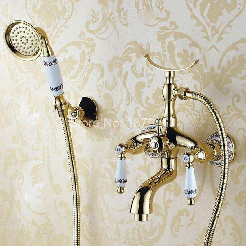 Luxury Gold Color Brass Bathroom Wall Mounted Handheld Shower Bath Tub Faucet Mixer Tap With Shower Head Bracket Holder atf407 bakala brass bath black faucets wall mounted bathroom basin mixer tap crane with hand shower head bath