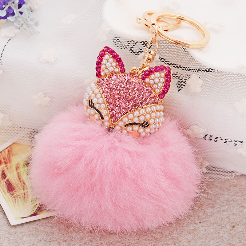 Faux fur pom poms Key Chain Charm Keychain Ball Bag Car Ornaments Plush  Pendant fashion keyring gift for best friend -in Key Chains from Jewelry ... f58c110b0