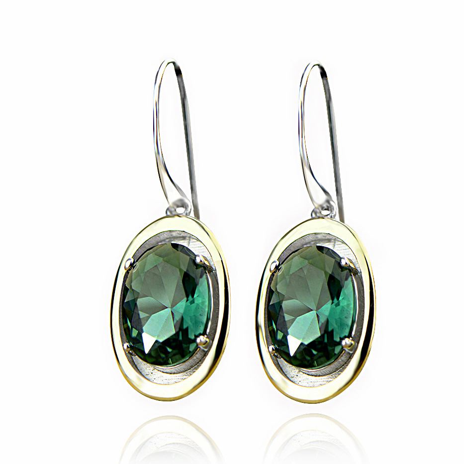 2018 new S925 silver plated Green Crystal Earrings Gold Plated retro atmospheric earrings, ladies' Tremella accessories цена