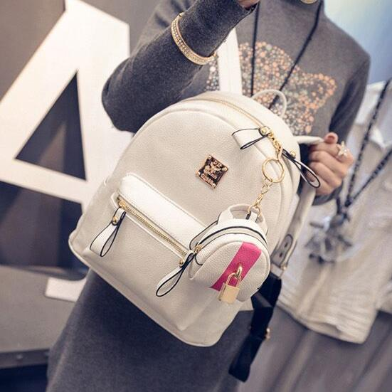 2016 Fashion PU leather Women Backpack College wind Lock High Quality Girl High Quality Travel Books