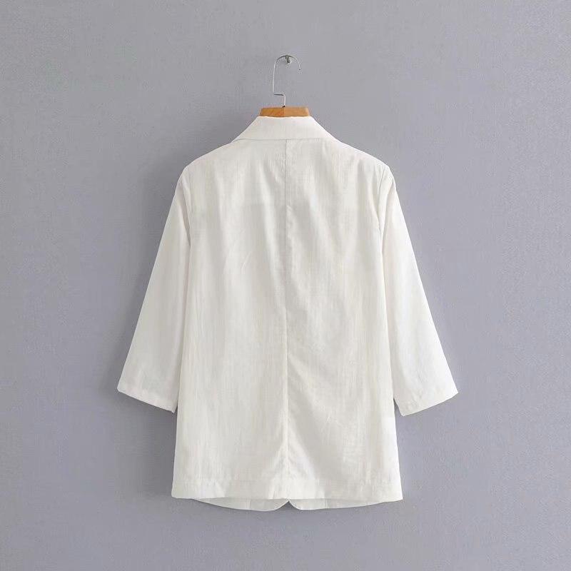 GOPLUS 2019 Black White Suit Jacket Women Single Button Blazers Jackets Notched Collar Ladies Office Blazer Loose Coats C7802