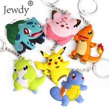 Pikachu Keychain Pocket Monsters Key Holder Pokemon Go Key Ring Pendant 3D Mini Charmander Squirtle Bulbasaur Figure Toys