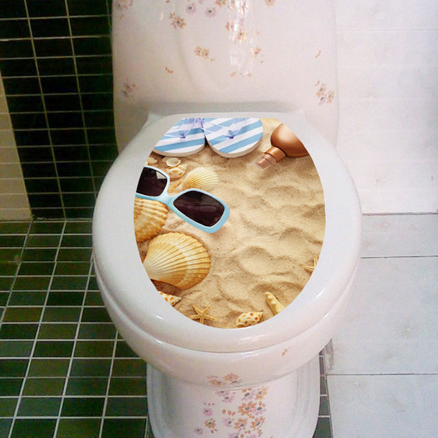 fundecor diy home decor waterproof pvc shell beach toilet sticker for bathroom decoration wall - Diy Beach Decor