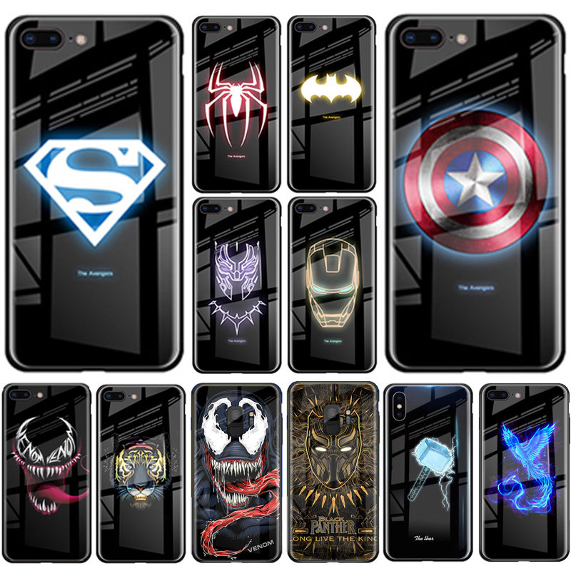 Luxury Batman Marvel Luminous Tempered Glass Cases For iPhone XS MAX XR 8 7 6 6s Plus X Samsung S8 S9 S10 Plus Note8 Note9 Cover marvel glass iphone case