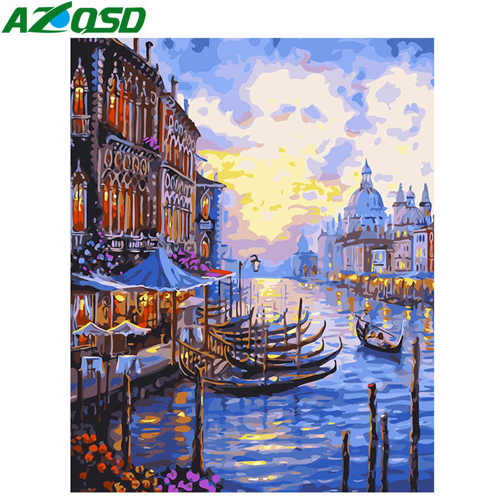 AZQSD Oil Painting By Numbers Venice Diy Digital Paint Drawing Coloring By Number Canvas Hand Painted Modular Picture Wall Decor