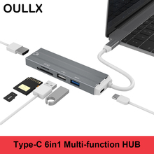 OULLX USB 3.1 Multi HUB Splitter with Type C Ports SD Micro Card Reader PC Computer Accessories 4K HDMI