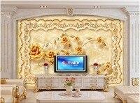 Custom Mural 3d Photo Wallpaper European Luxury Marble Gold Rose Decorate Painting 3d Wall Murals Wallpaper