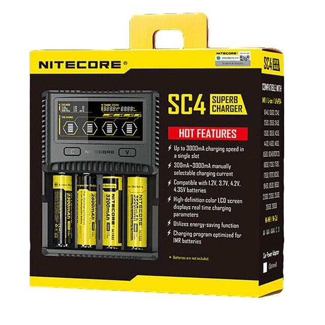 "NITECORE SC4 אינטליגנטי טעינה מהירה יותר מעולה 6A מטען עם 4 חריצים סה""כ פלט תואם IMR 18650 14450 16340 AA סוללה"