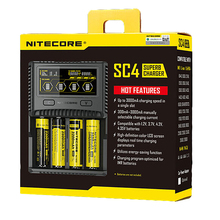 NITECORE SC4 Intelligent Faster Charging Superb Charger with 4 Slots 6A Total Output Compatible IMR 18650 14450 16340 AA Battery