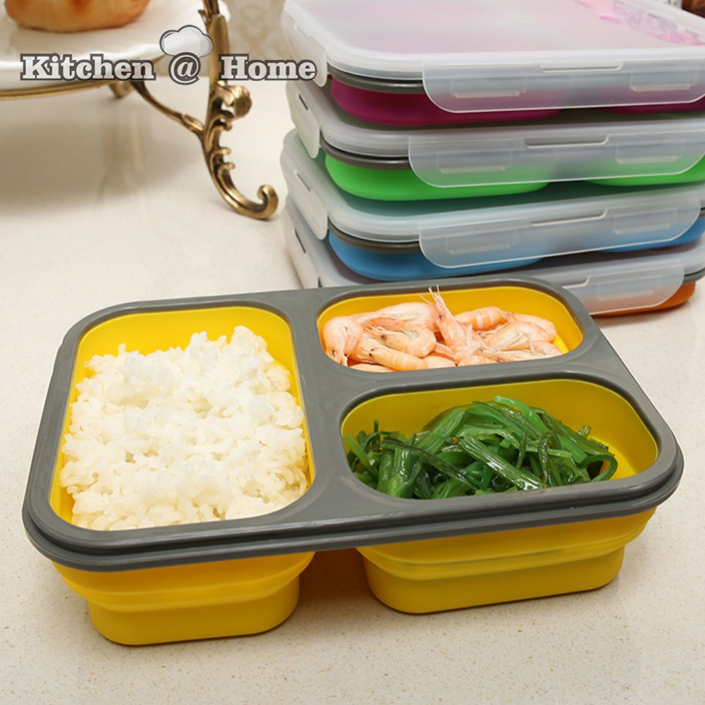Collapsible Silicone Lunchbox Bento Folding Portable Bento Box With Fork 17.5cm*24.5cm 3 Grids Microwave Dinnerware Tools