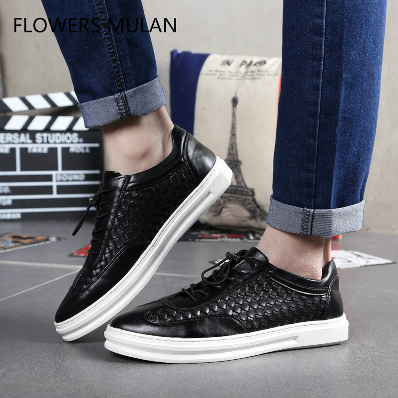2018 New Arrival Withe Leather Upper Boy Casual Shoes Lace Up Round Toe Soft Rubber Heel Man Leisure Footwear Running Walking