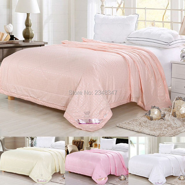 Soft Spring Thin Comforter Twin/Full/Queen Size Silky Bed Quilted Coverlet  Solid Plain