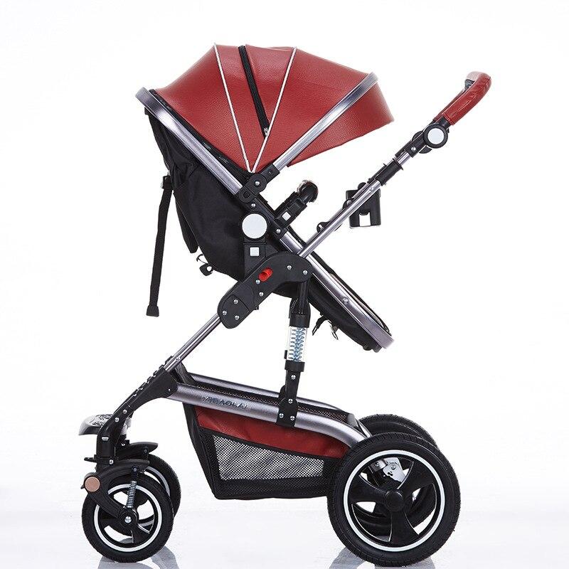 Wózek składany Bedora Wózek skórzany Wózek spacerowy o wysokich - Aktywność i sprzęt dla dzieci - Zdjęcie 4