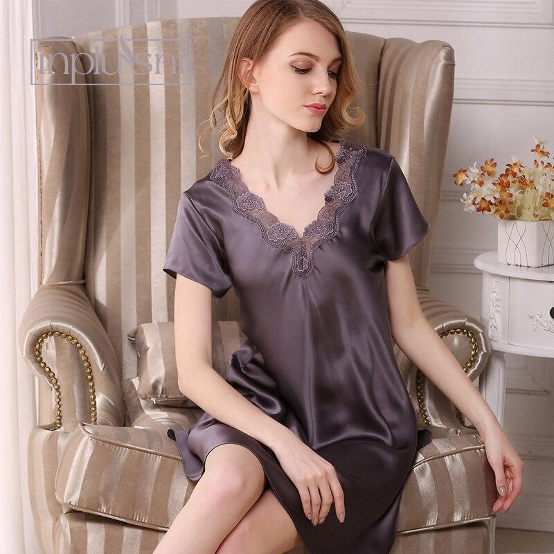 Inplusni femmes chemise de nuit 2019 été 100% soie chemise de nuit à manches courtes contracté grands yards mode vêtements de nuit femmes chemise de nuit