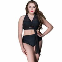 2018 Newest Plus Size Women Bikini Set Striped Big Chest High Neck Female Swimwear High Waist