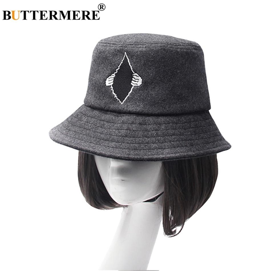 BUTTERMERE Wool Bucket Hat Winter Gray Fishing Cap Women Embroidery Casual  Warm Hat Men Solid Vintage Designer Bob Fishing Hats 96761eea807