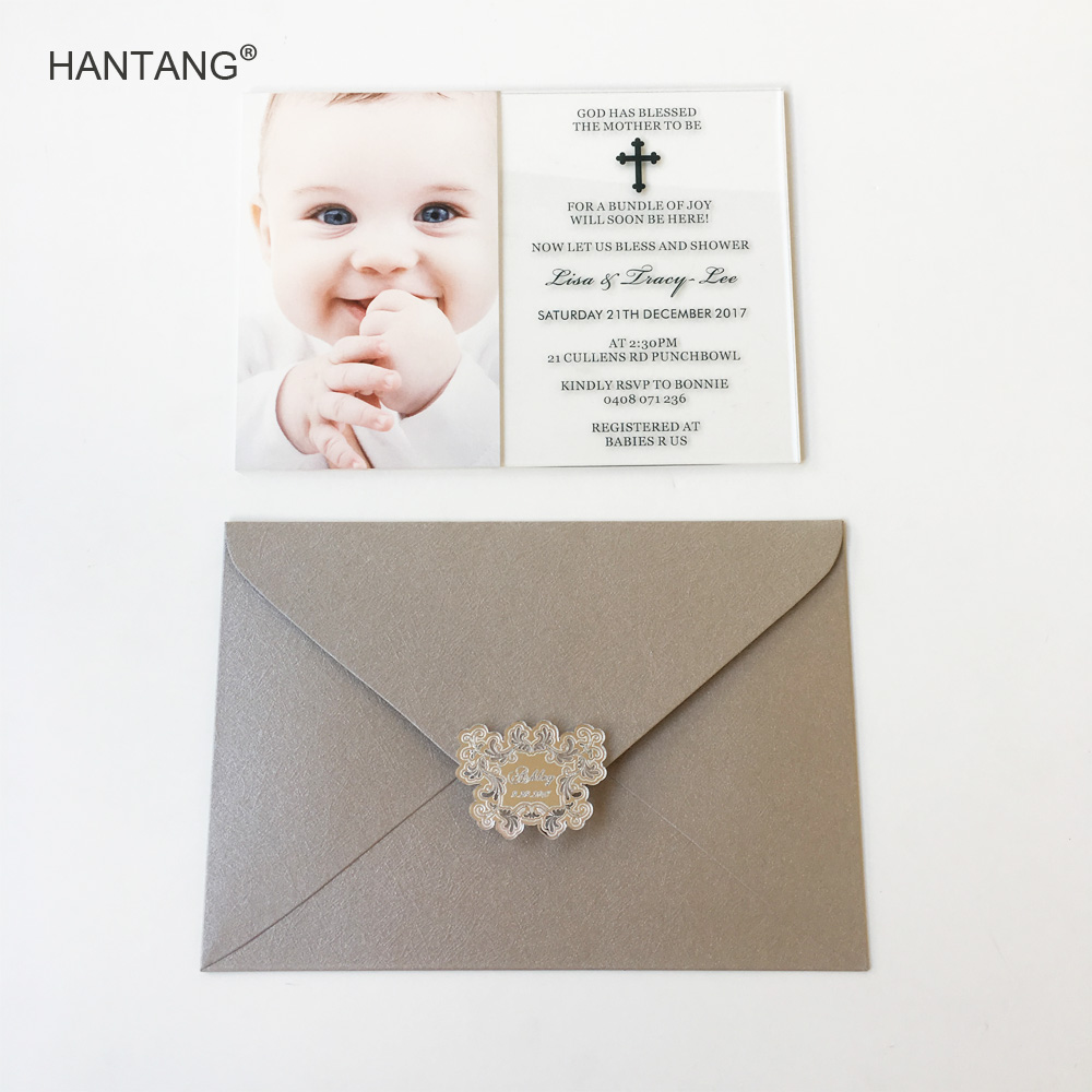 Us 310 0 Customized 5x7inch Uv Printing Photo Clear Acrylic Baby Shower Invitation Card Christening And Baptism Invitations100pcs Per Lot In Cards