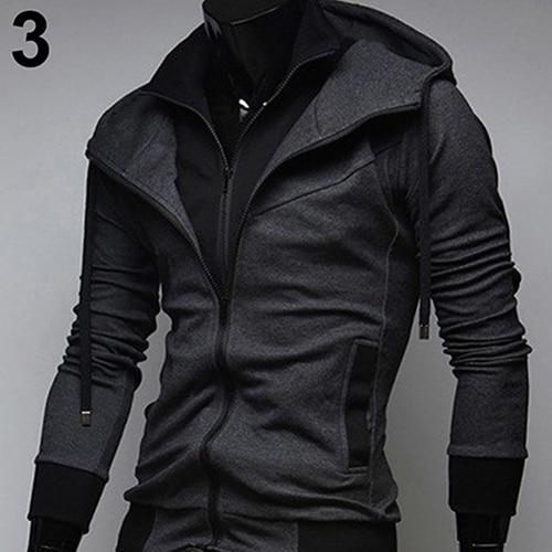Men Slim Fit Double Zipper Hooded Sweatshirt Coat Casual Drawstring Outwear