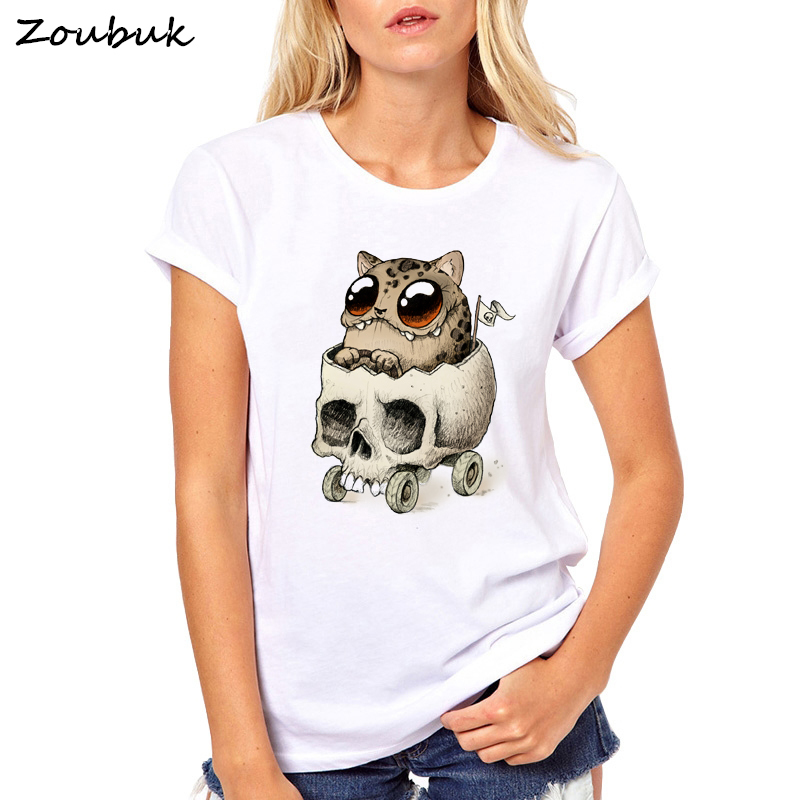 56922b47 Summer tops for women 2019 funny monster leopard skull printed t shirt  female harajuku cute graphic t-shirt 90s tumblr tshirts