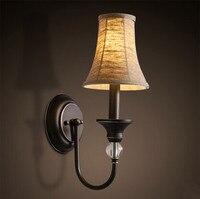 Ткань американский кантри светодиодный настенный светильник лаконичный современный простой прикроватный свет бра приспособления для каф