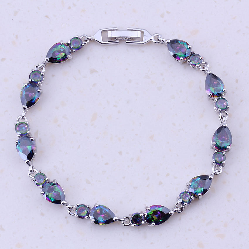 Exclusive Rainbow Mystic Cubic Zirconia Silver Color Fashion Charm Bracelets For Women Best Trendy Jewelry D0086
