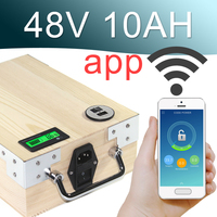 48V 10AH APP Lithium ion Electric bike Battery Phone control USB 2.0 Port Electric bicycle Scooter ebike Power 500W Wood