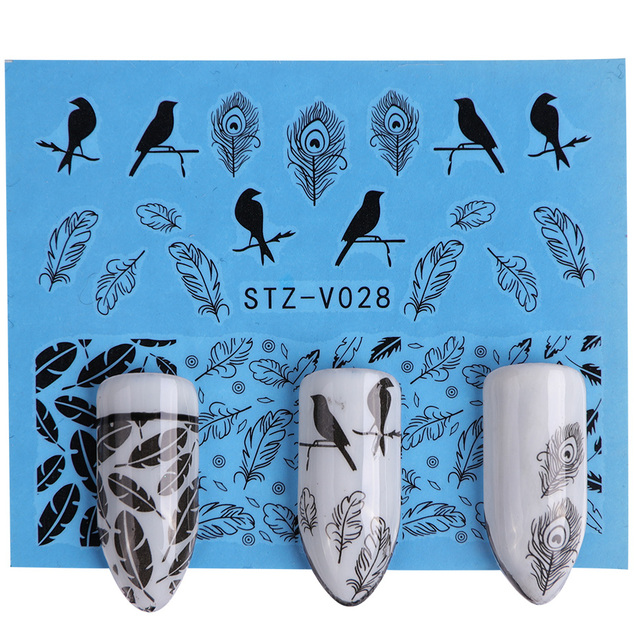 40PCS Black White Lace Flower Water Sticker Sets DIY Charms Slider Sexy Transfer Tattoos Full Foil Nail Tool CHSTZV001-048