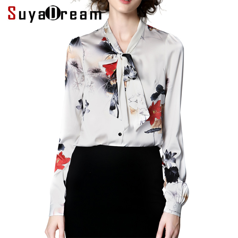Women SILK SHIRT 94%Natural silk 6%Spandex Floral Print Long sleeved OFFICE LADY Shirt 2017 Fall Winter New shirt Plus size
