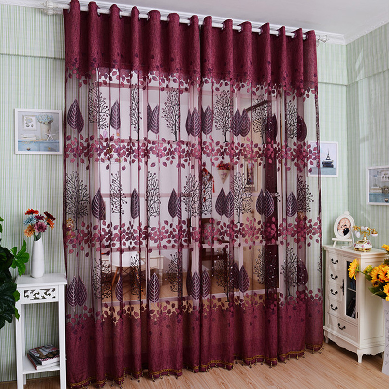 Newest Elegant Retro Window Screens With Pink And Purple Curtains