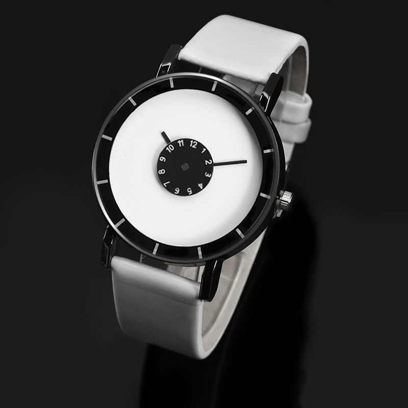 Minimalistische Stijl Horloges Mode Creatieve Mannen Vrouwen Horloge Lederen Band Quartz Horloges Gift Klok relogio masculino