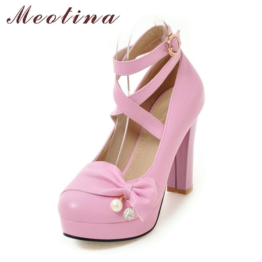 Meotina Platform High Heels Women Shoes Ankle Strap Buckle Pumps 2018 Spring Pearls Bow Party Shoes Pink Purple Big Size 42 43 meotina high heels shoes women wedding shoes platform high heel pumps ankle strap bow spring 2018 shoes white pink big size 43
