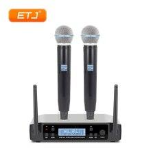 ETJ бренд UHF двойной беспроводной микрофон системы GLXD24/BETA58 GLXD4 GLXD2 микрофон для церковной сцены больше каналов, чем SLX24 PGX24