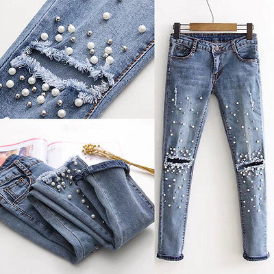 Women Fashion Destroyed Ripped Pearled Slim Denim Pants Boyfriend Jeans Trousers Ladies Womens Daily Casual Jean Pant Clothing