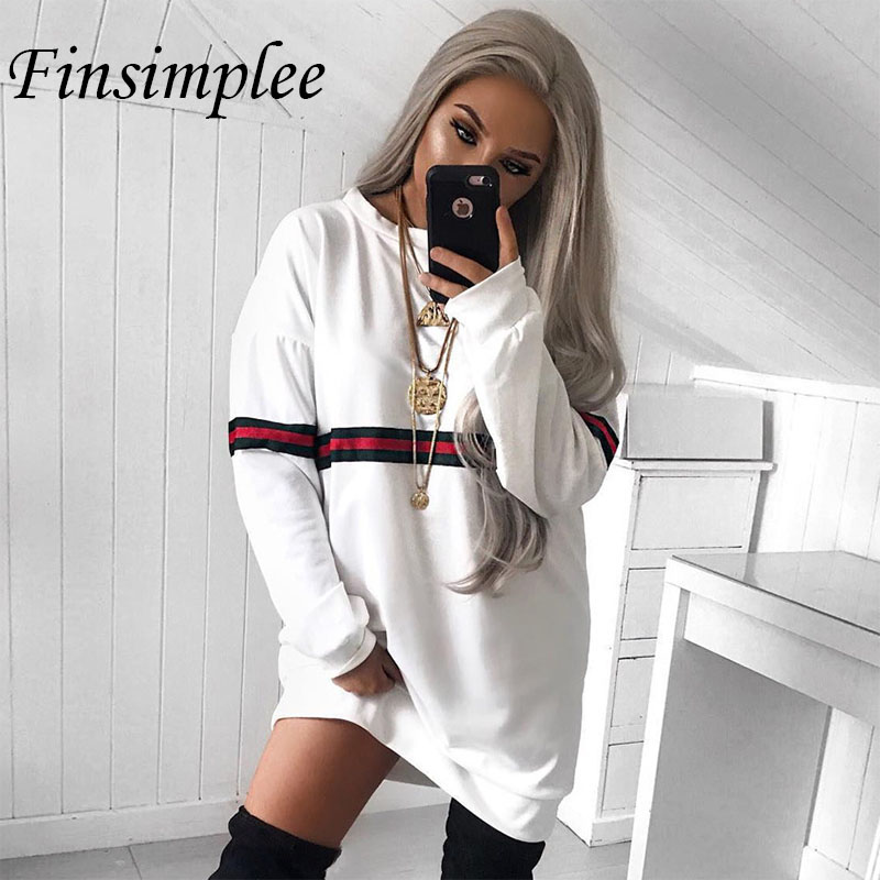 Women Hoodies Dress Patchwork Sweatshirt Female Casual Striped Dresses O Neck Long Sleeve Loose Cotton Sweatshirts Vestidos ...