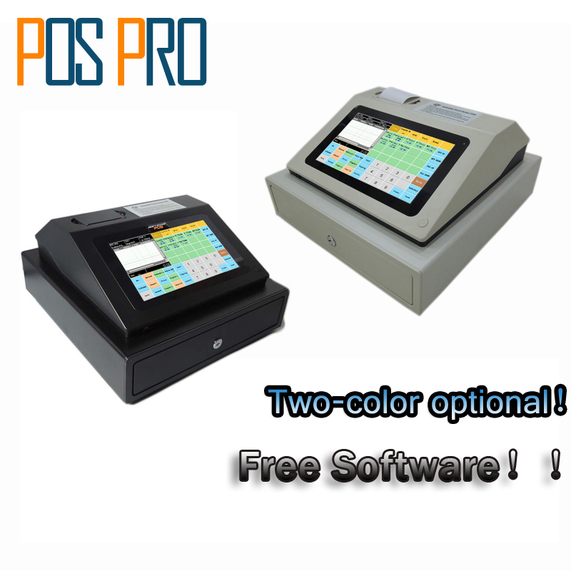 IPCR004 Free Software Touch Screen Automatic Electronic Money Cash Register All in one POS for Restaurant/Drink/milk/tea Shop free shipping pos software cheap touch